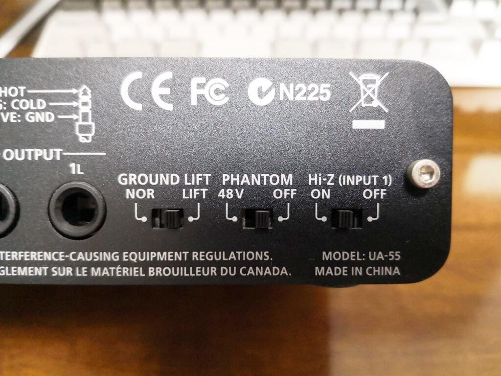 UA-55背面のスイッチ