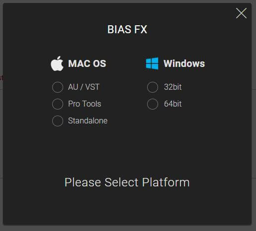 BIAS AMP プラットフォームを選ぶ