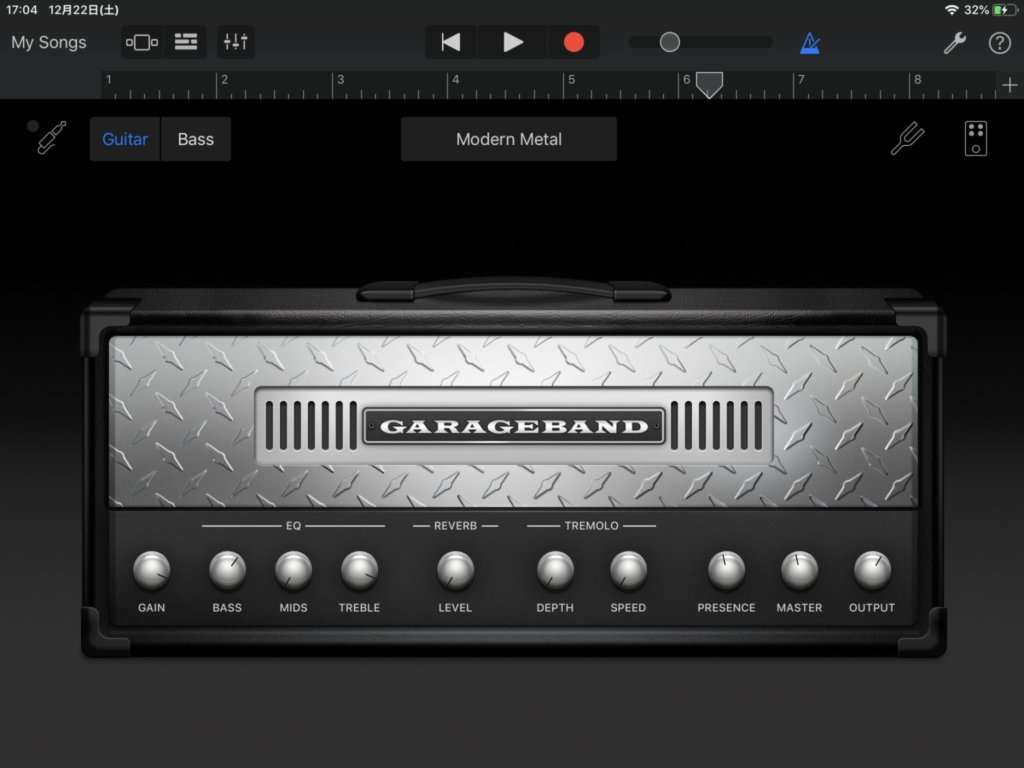 garagebandのギター用アンプシミュレータ