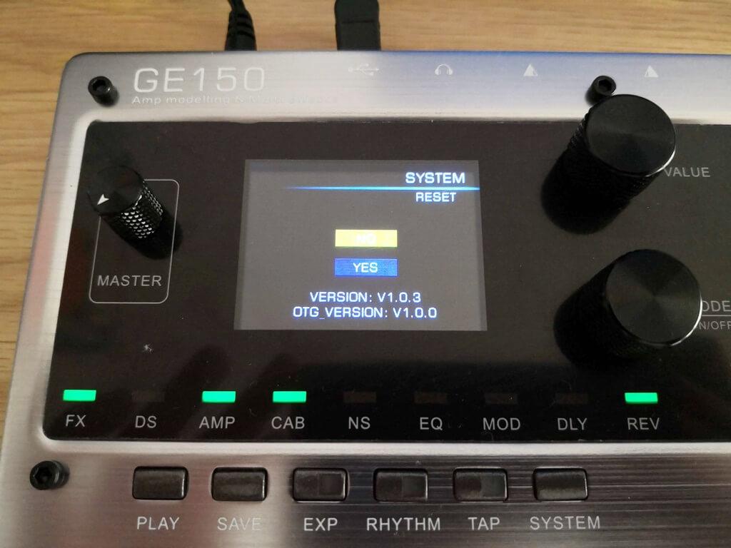 GE150のバージョン(更新前)