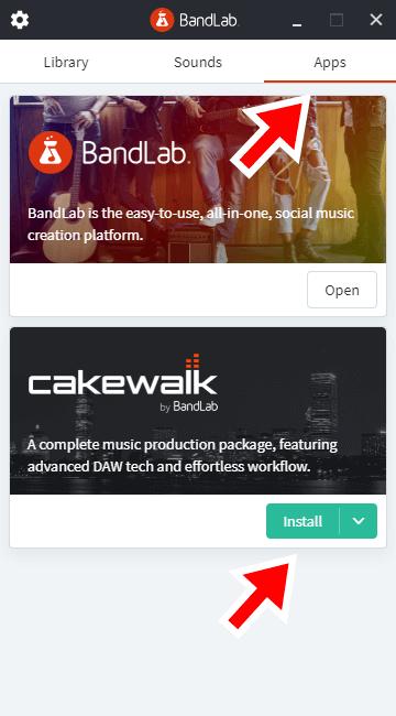 AppsタブからCakewalkをインストールする