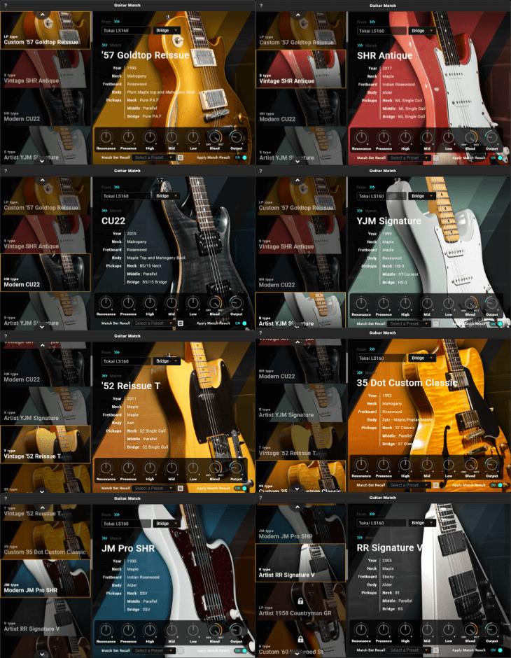 Guitar Matchで選べるギターモデル