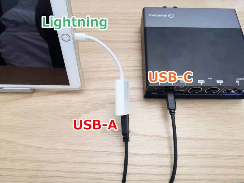 USBカメラアダプタでUR22CとiPadを接続する