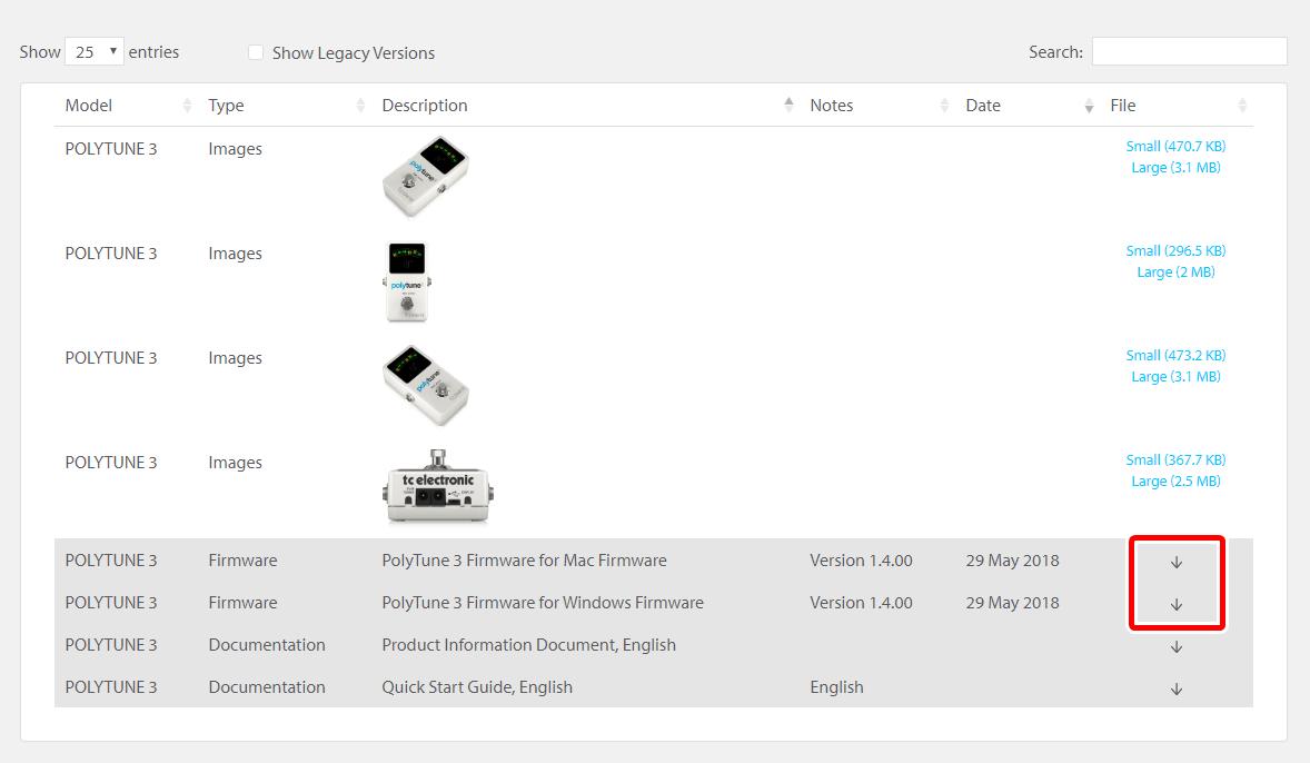 polytune 3のファームウェア更新ファイルをDLする