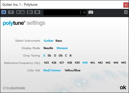 Polytuneプラグインの設定画面